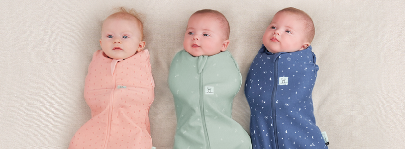 New babies in Cocoon Swaddle Bags, our top pick for newborn sleep essentials.